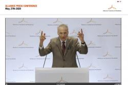 In this image from a video provided by Renault-Nissan-Mitsubishi, Alliance Operating Board Chairman Jean-Dominique Senard speaks during an online news conference Wednesday, May 27, 2020