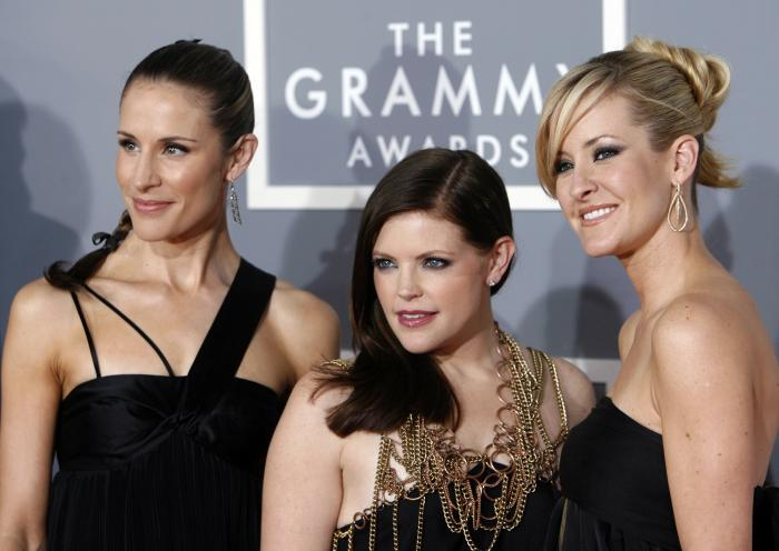 Emily Robison, left, Natalie Maines, center, and Martie Maguire, of The Chicks, at the 2007 Grammy Awards.
