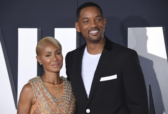 "Jada Pinkett Smith, left, and her husband Will Smith attend the premiere of ""Gemini Man"" in Los Angeles."