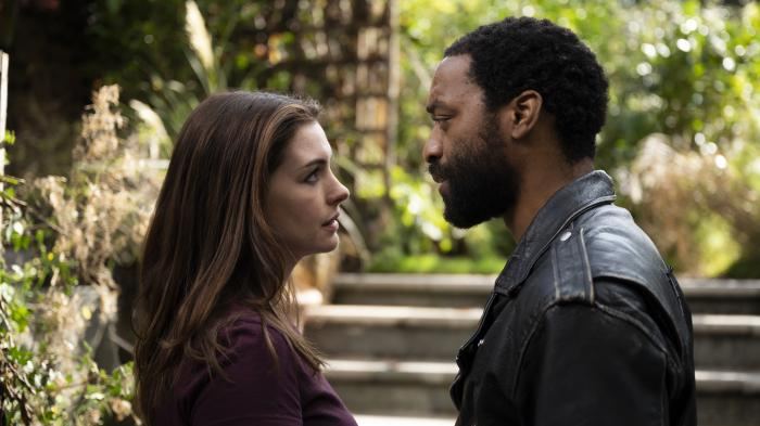 "Anne Hathaway and Chiwetel Ejiofor in a scene from ""Lockdown."""