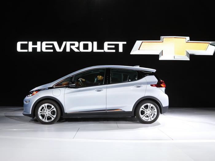 In this Jan. 9, 2017 file photo the Chevrolet Bolt is on display at the North American International Auto Show in Detroit