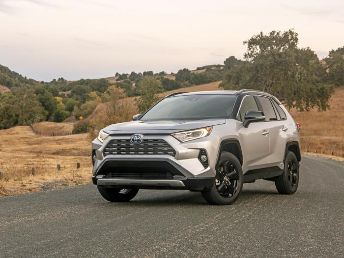 This photo provided by Toyota shows the 2021 Toyota RAV4 Hybrid, an electrified variant of one of America's most popular vehicles