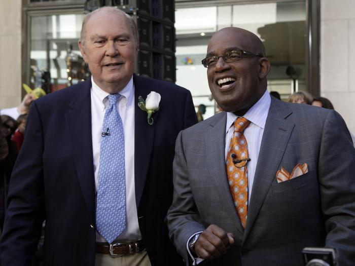 """In this Tuesday, July 14, 2009, file photo, Willard Scott, left, and Al Roker, weathercasters on the NBC """"Today"""" television program, appear on the show in New York."""