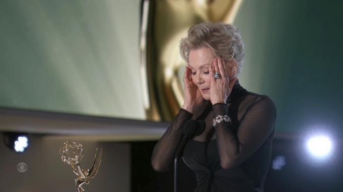 """Jean Smart accepts the award for outstanding lead actress in a comedy series for """"Hacks"""" during the Primetime Emmy Awards."""