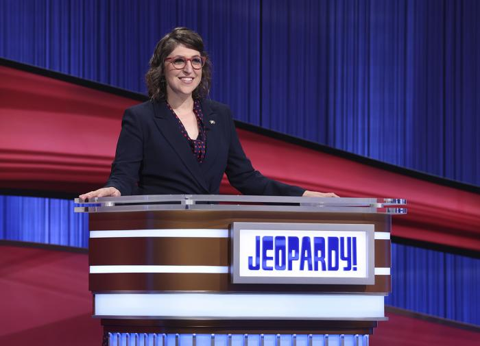 """Mayim Bialik hosting the game show series """"Jeopardy!"""""""