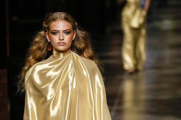 A model wears a creation for the Fendi Spring Summer 2022 collection.